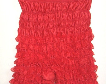 VINTAGE Red Ruffle Lace Square Dance PETTIPANTS Lingerie Bloomer Pants XS/S Burlesque Edwardian Victorian Pin Up Can Can Sissy Cosplay