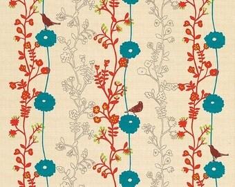 Birds Flowers Vines Echino Japanese Furoshiki Wrapping Cloth  50x50cm Small size BEIGE