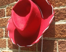 Red Vintage Rodeo King Costume Western Hat