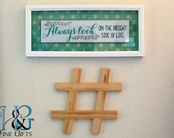Hashtag wall art in pine, social media icon in handcrafted wood makes a great gift for Twitter fans, wood pound sign hangs flush to wall