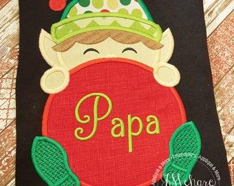Monogrammed Boy Elf Peeker - Christmas Custom Tee Shirt - Customizable