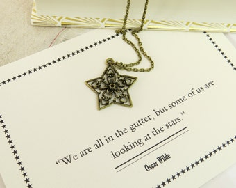 Oscar Wilde Star and Flower Necklace - Literature Gift for Book Lover - 'We are all in the gutter...' - Book Quote Jewelry - Star Necklace