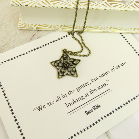 Oscar Wilde Star and Flower Necklace - Literature Gift for Book Lover - 'We are all in the gutter...'
