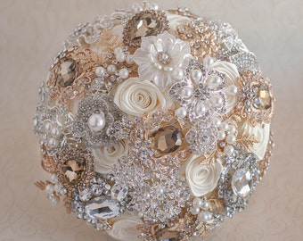 READY TO SHIP 8'' Brooch bouquet. Ivory, Gold, Silver and Champagne crystal wedding brooch bouquet, Jeweled Bouquet.