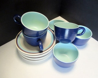 Vintage Franciscan Earthenware - Malibu Pattern - Off White Speckled with Royal Blue and Aqua Bands - Set of 6 Cups and Saucers