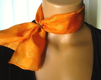 Orange Silk Scarflette. Small Hand Dyed Silk Scarf. 6x24 inch Orange Neck Scarf with Small Gold Spirals. Free Scarf Ring. Gift for Her.