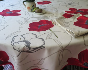 """large  Round Cotton tablecloth , 78"""" diameter . French fabric from Provence.with big red poppies"""