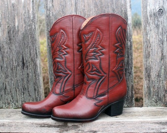 70's Cowboy Rain Boots Cougar Rubber Western Cowgirl