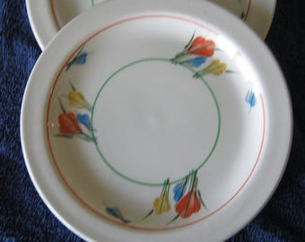 Four Pristine Midwinter Stonehenge CROCUS dessert plates in pristine condition.  Plates were produced by this subsidiary of Wedgwood