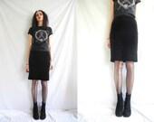 90's goth/rocker black stretch cotton velvet straight high waisted knee length skirt