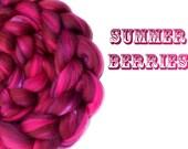 Blended roving - Blended tops - 23 micron Merino - Mulberry silk - 100g - 3.5oz - SUMMER BERRIES
