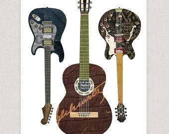 Guitar Art Print - Guitar Collage Poster Print - Fine Art Collage Illustration Print