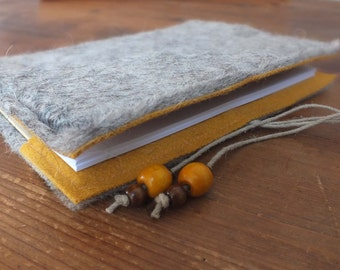 Colorful grey wet felted big A5 Notebook in yellow with cord and beads