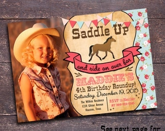 Girl's Horse Invitation, Printable Horse Invitation, Cowgirl Birthday Invitation, Cowgirl Party Invitation, Floral Horse Invitation