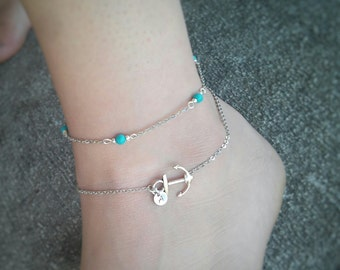 Personalized silver anchor anklet, Hand stamped Initial anklet (Adjustable)