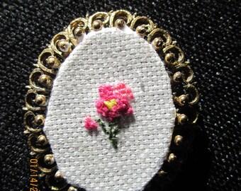 Delicate Rose Cross Stitch Brooch