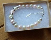 Baby baptism bracelet - baby girl christening gift- baptism gift - newborn jewelry- toddler bracelet - cross jewelry- baby jewelry