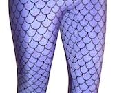Purple Mermaid Leggings, Lavender Mermaid Leggings, Printed Leggings, Yoga Pants, Running Pants