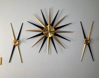 Awesome STARBURST CLOCK and SCONCE set of 3 by Endura 1950s atomic chic