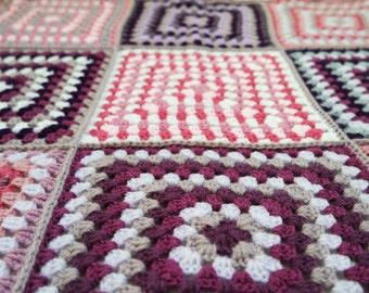 Purple and pink crochet blanket