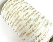 "Gold Maid of Honor on Ivory Elastic - FOE Fold Over Elastic - 5/8"" Metallic Foil Print Headbands - Hair Ties - Shiny - Bridal Shower Wedding"