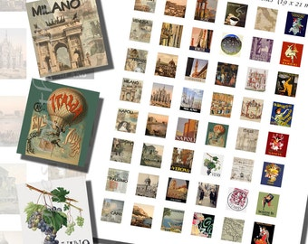 Italy Printables, SCRABBLE TILE SIZE (.75 x .83 Inches or 19 x 21 mm), 48 Illustrations and Photos Included