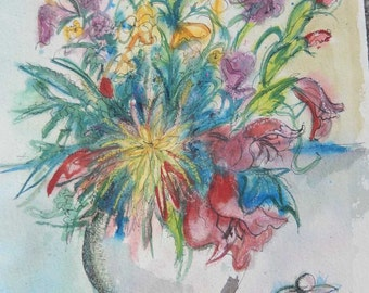 Watercolor Pen & Ink Original Painting Mixed Flowers 15x11