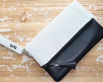 Grey Foldover Clutch/Wristlet with Vegan Leather Trim
