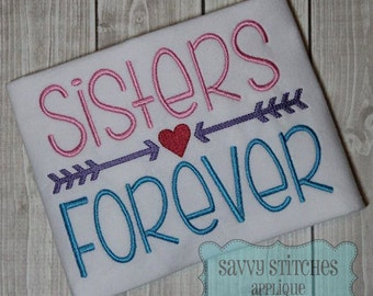 Sisters Forever Machine Embroidery Design