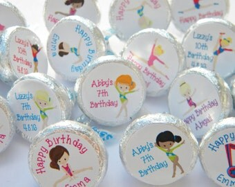 Hershey Kiss Stickers - Birthday Party Favors - Personalized Gymnastics Favors - Gymnast Hershey Kiss Stickers - Gymnastics Party Favors