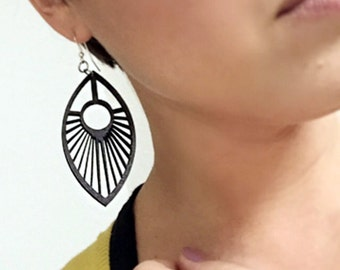 Wood Spoke Earrings from Black Stained Maple