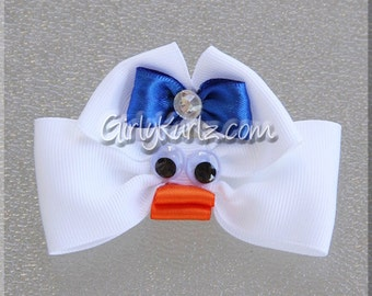 WHITE Ducky Hair Bow Easter Hair Bow Chick Hair Clip Chick Hair Bow Duck Hair Bow