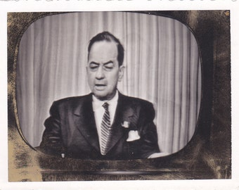 Weird Odd Antique Snapshot Photo of a Man on a Television Screen