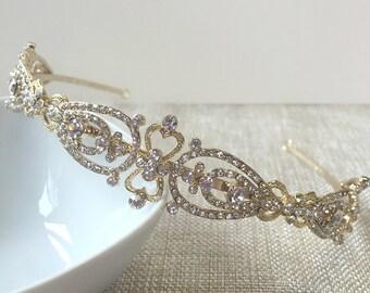 Gold Bridal Headband, Vintage Wedding Headband, Modern Gold Headband, Rhinestone Wedding Headband, Bridal Headband TI-3215-G