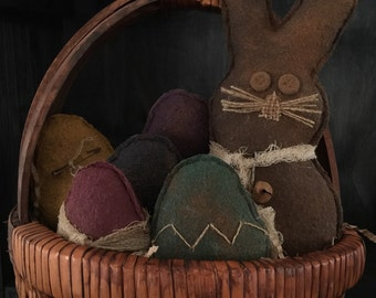 Primitive Easter Bunny and Eggs Large Bowl Fillers / Tucks