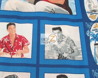 100% Cotton Fabric  By Cranston Print Works For V.I.P. Fabrics - Elvis Presley Forever - Sold By The Panel (FH-2335) King Of Rock
