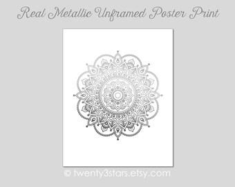 Henna Metallic Art Print, Gold foil Henna Tattoo Art, Mandala Indian Art, Buddhist Gold Foil, Bohemian Boho Medallion Foil Art Print