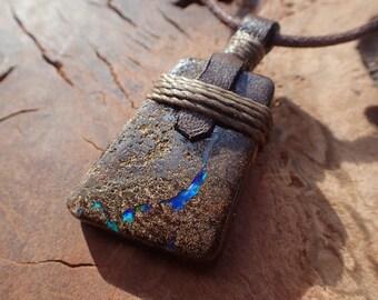Boulder Opal Pendant on Adjustable Necklace