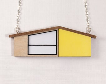 Wooden Necklace | MidCentury Modern House Necklace | Yellow Necklace | Wooden Jewelry | Laser cut Jewelry