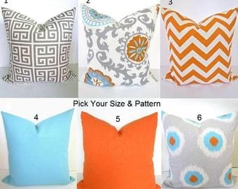 ORANGE PILLOWS Orange Pillow Covers Aqua Blue Pillows Turquoise Decorative Throw Pillows Gray pillow Covers Grey Pillows 18x18 20.All Sizes
