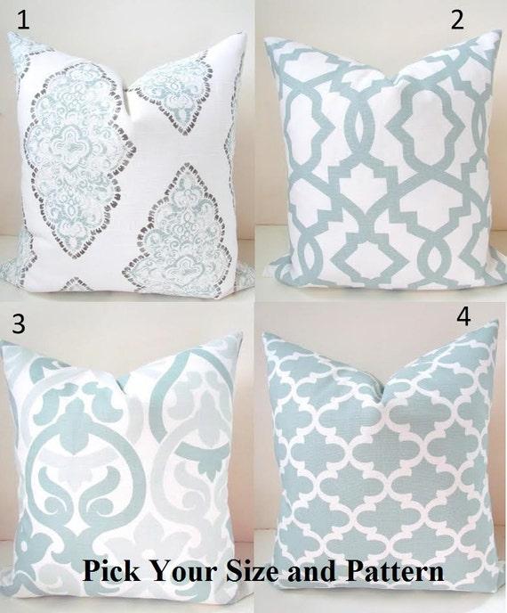 Silver Blue Decorative Pillows : Blue PILLOWS Blue Throw Pillow Covers Snowy Silver Blue