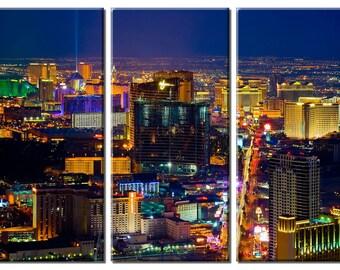 Framed Huge 3 Panel City Skyline Casino Las Vegas Strip Giclee Canvas Print - Ready to Hang