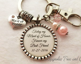 MAID of HONOR, Keychain or Necklace, Matron of Honor, Personalized Bridal Party Gift, Attendant keepsake, Pendant, My Best Friend (WD02)