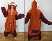 Fire Ferret Kigurumi -- Ready-to-Ship Handmade Anti-pill Fleece Onesie