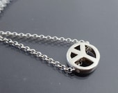 Peace sign necklace Minimalist necklace Sterling silver peace necklace Small dainty necklace Peace symbol pendant necklace Peace jewelry