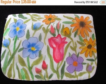 Small purse Silk Purse Accessory handpainted - garden floral unique gift - designer handmade in the USA - one of a kind