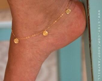 Gold Coin Anklet, Ankle Bracelet, Gold Anklet, Ankle bracelets, foot jewelry, gold ankle bracelet, anklet jewelry, boho anklet