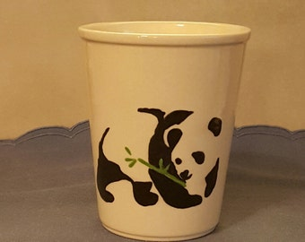 Soy candle in a cup hand painted with a giant panda