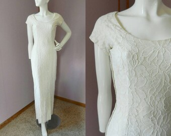 Vintage 1960's Off White Piped Lace Dress / Form For Sheath Dress / Wiggle Dress/ Mod Wedding / Bride / XS-S