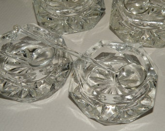 6 Antique Individual Salts with 4 Glass spoons
